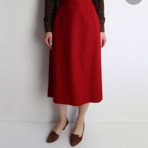 VTG HERMAN GEIST Red Wool Midi Pencil Skirt